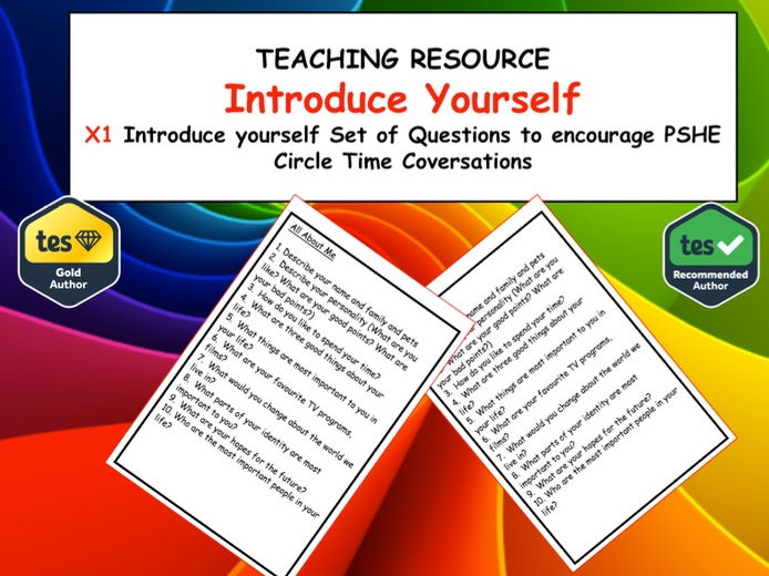 PSHE Self Introduction Prompt cards - Introducing yourself to new class mates