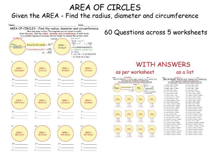 AREA OF CIRCLES - Given the AREA , Find the radius, diameter and circumference + ANSWERS