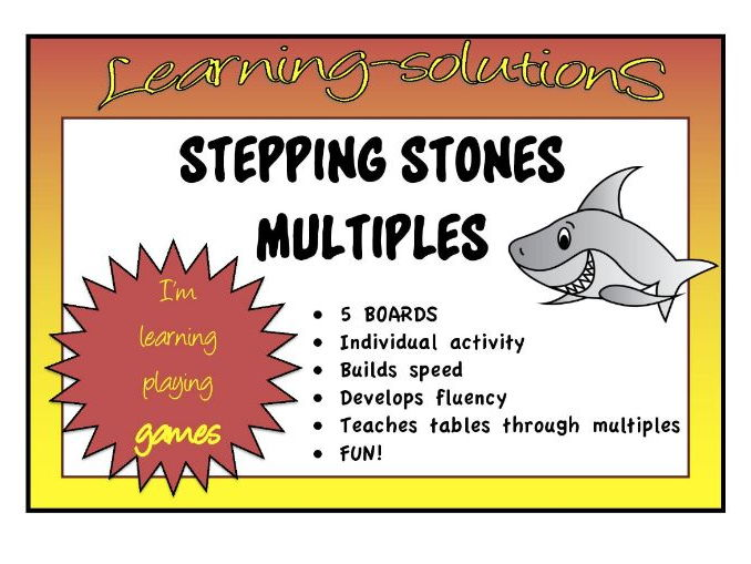 TIMES TABLES - MULTIPLES - STEPPING STONES - 3x, 4x, 6x, 7x, 8x - One player game to develop fluency