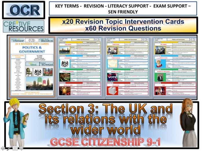 Citizenship GCSE 9-1 UK and Wider World Revision Topic Cards