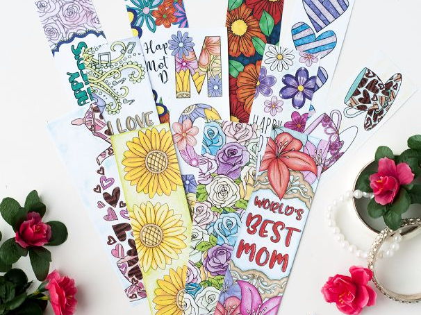 Mother's Day Coloring Bookmarks – 12 Printable Bookmarks to color and make for Mom / Mum
