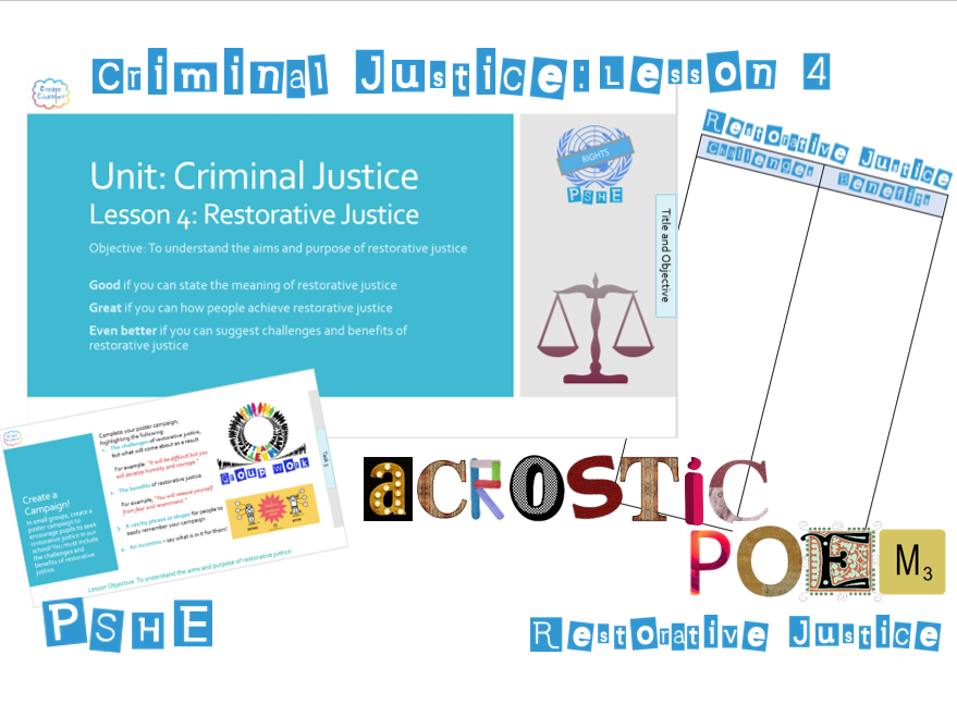 PSHE Criminal Justice: Lesson 4 Restorative Justice - Whole Lesson