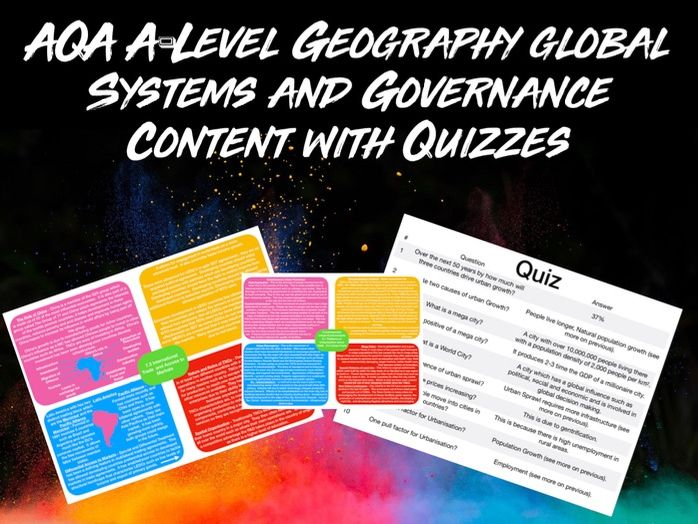 AQA A-LEVEL Geography Global Systems and Governance Content with Quiz