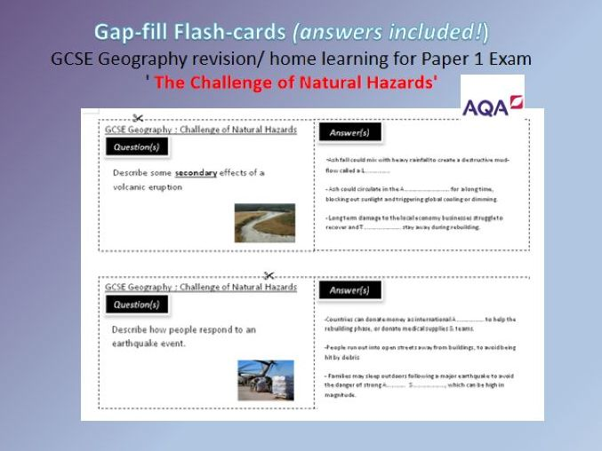 home learning Natural Hazards Flash cards