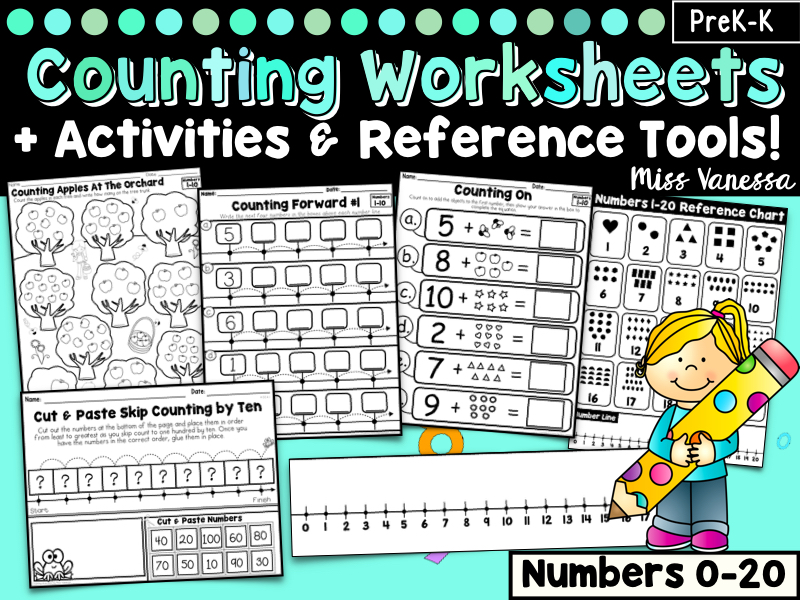 Counting Worksheets Bundle for Numbers 0-20