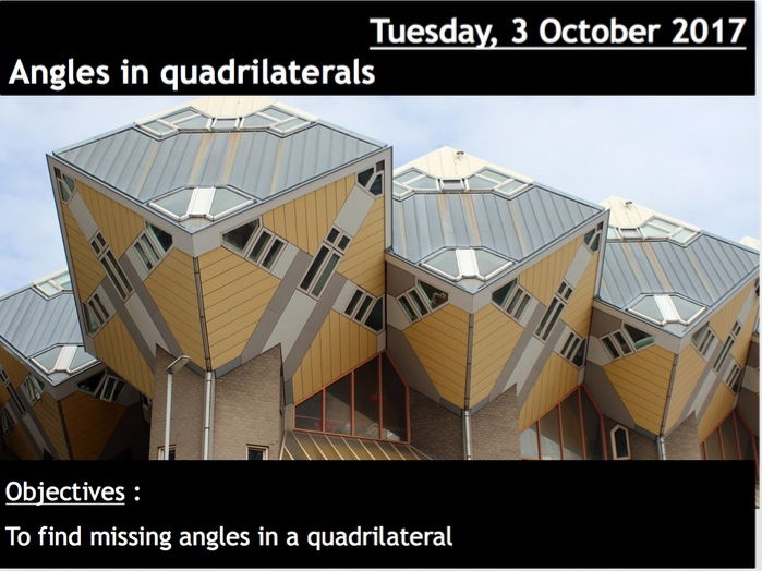 ProjectALesson : Angles in quadrilaterals