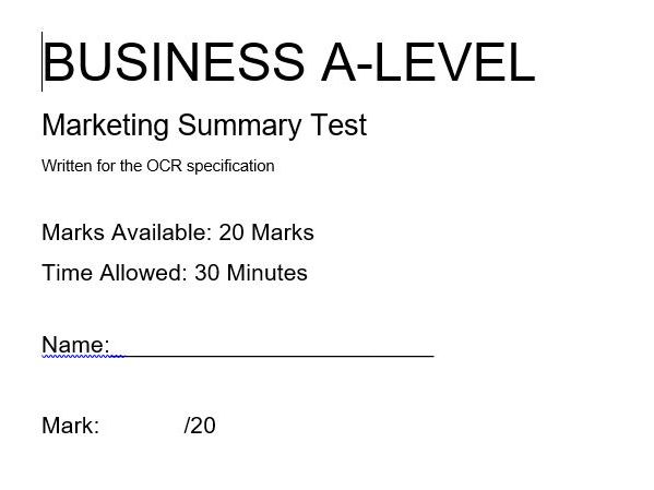 A Level Business Tests