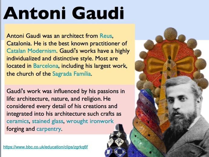 Antoni Gaudi Ceramics Vessel Project Powerpoint and Resources