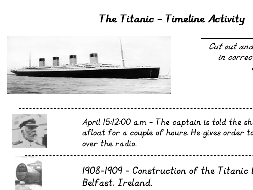 Titanic Timeline sorting activity