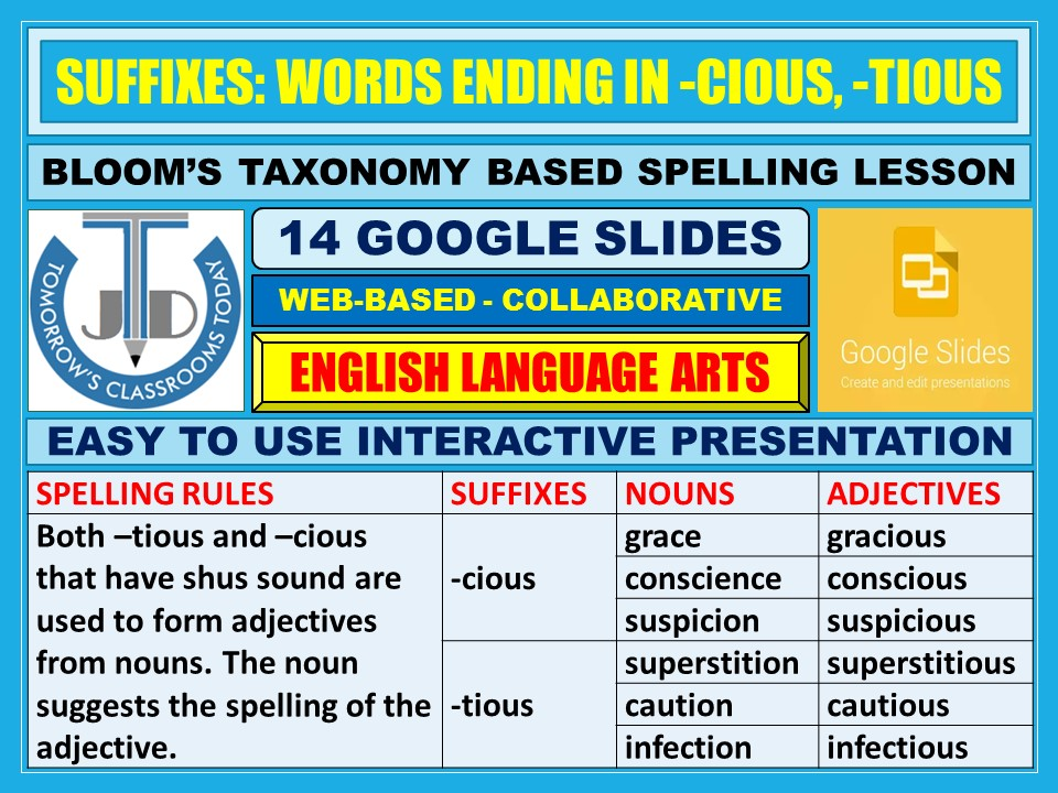 SUFFIXES: WORDS ENDING IN -CIOUS AND -TIOUS - 14 GOOGLE SLIDES