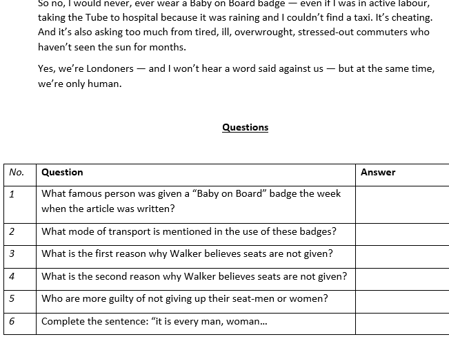 English Language Paper 2 Non Fiction Booklet with Answers