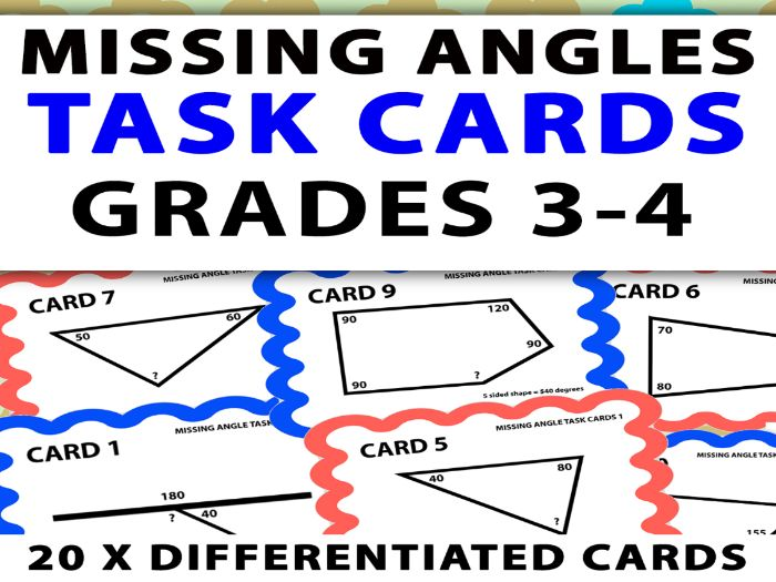 Missing Angle Task Cards: Years 4 and 5