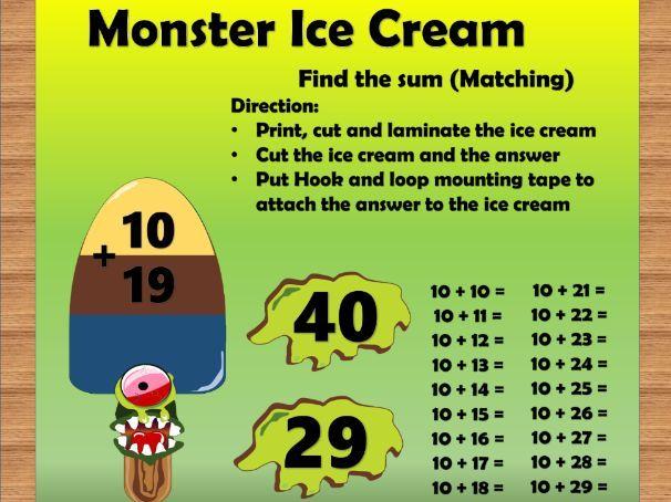 Monster Ice Cream Addition-  2 digit