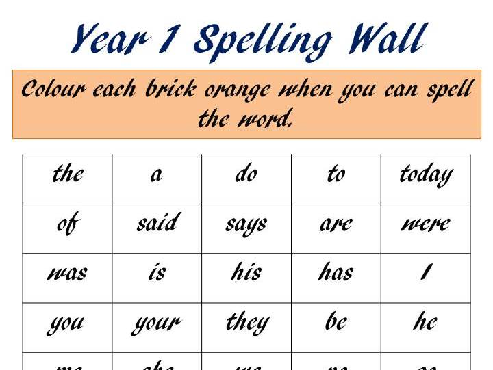 Year 1 Common Exception Word Spelling Wall