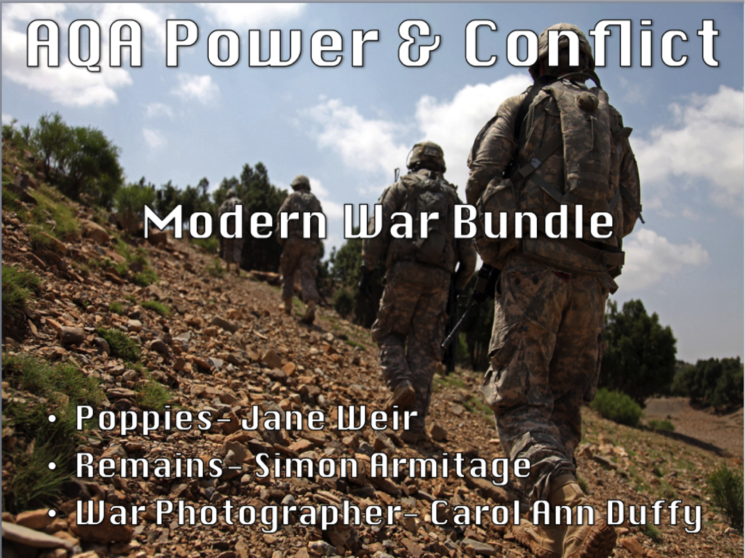 English Literature Power & Conflict Poetry- Modern War Bundle- AQA New Spec 2017