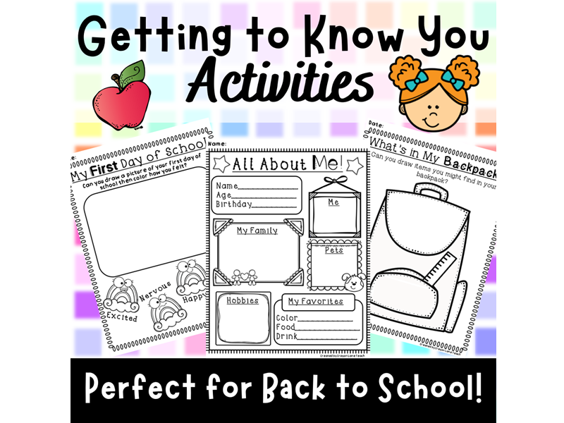 Getting to Know You Activities Back to School All About You Worksheets