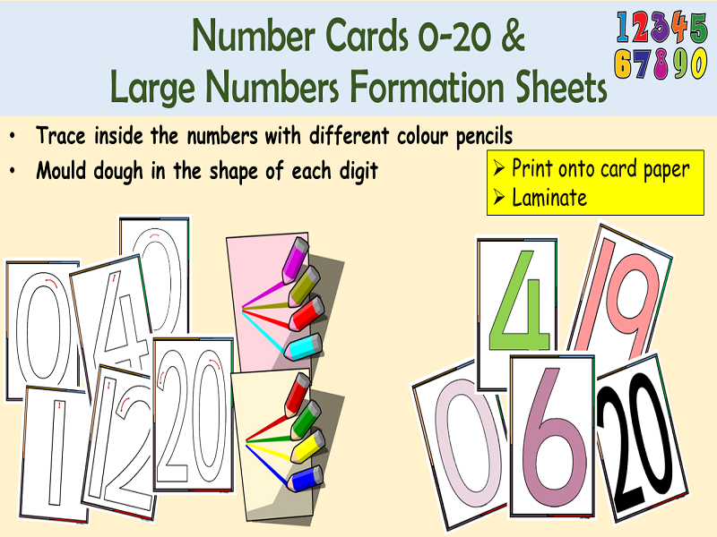 Numbers/Digit Cards 0-20 and Number Formation Cards Large