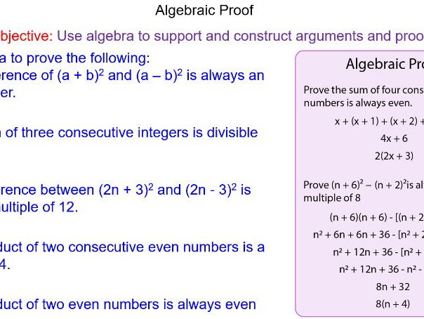 Algebraic and Mathematical Proof Higher GCSE