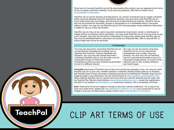 TeachPal Clip Art Terms of Use