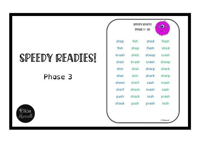 Phonics - Phase 3 - Speedy Readies - Fluency Practice