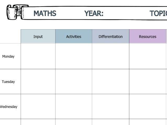 Blank Maths Plan Editable