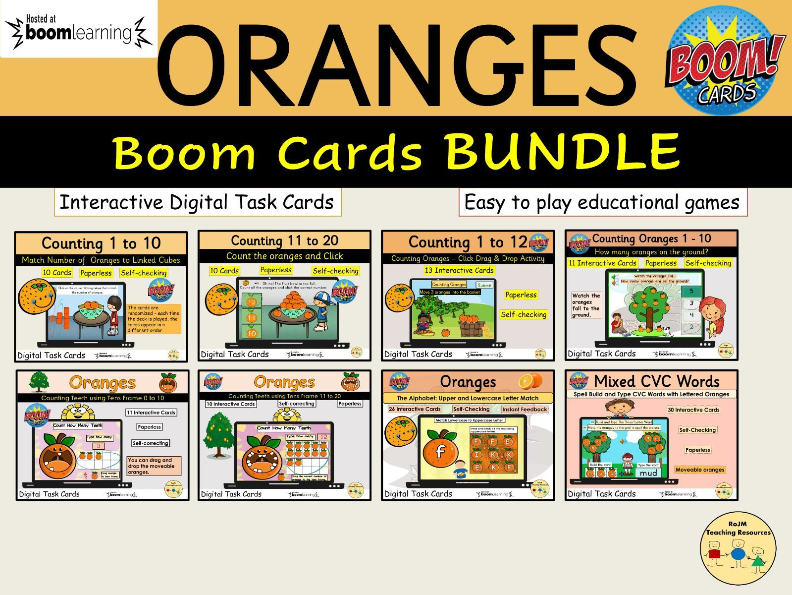Oranges BUNDLE BOOM Cards Distance Learning Counting Matching  Tens Frame Maths Literacy