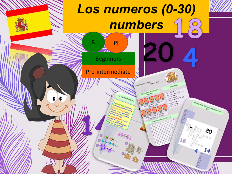 Spanish number 0 to 30 (lesson + Activities) / Los numerous 0 - 30