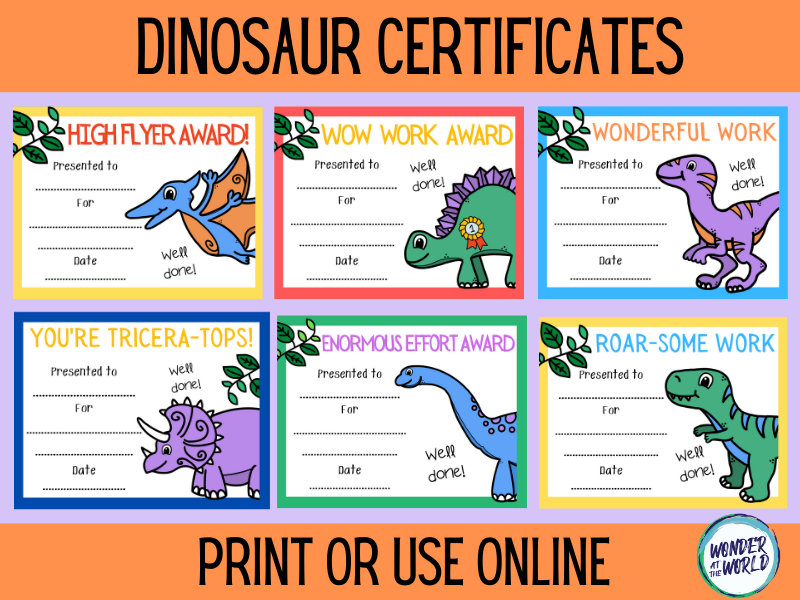 Dinosaur classroom reward certificates to print or use online
