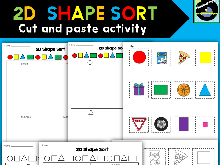 2D Shape Sort Cut And Paste Activity