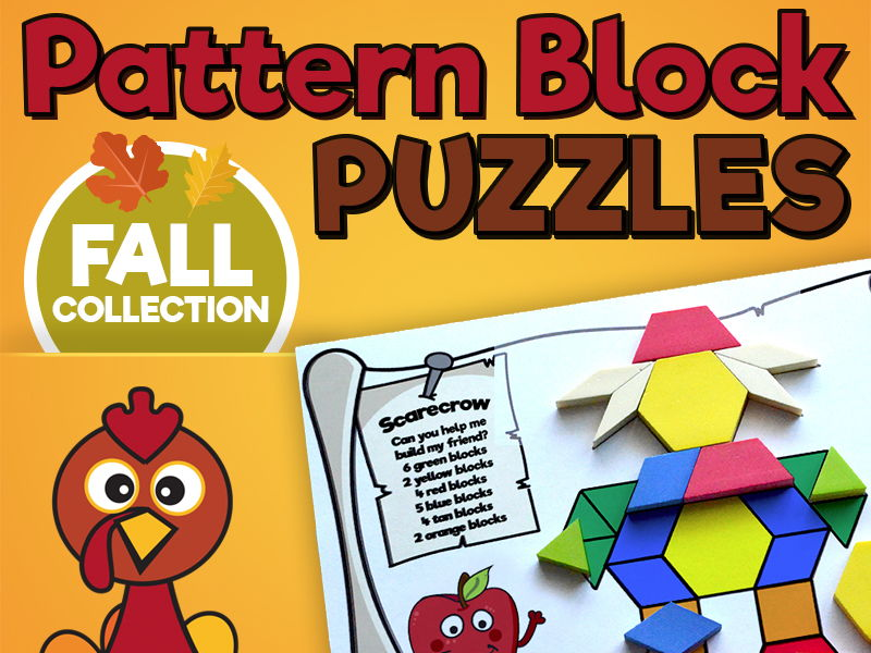 Pattern Block Puzzles • Math Shape Puzzles • Autumn Thanksgiving Theme