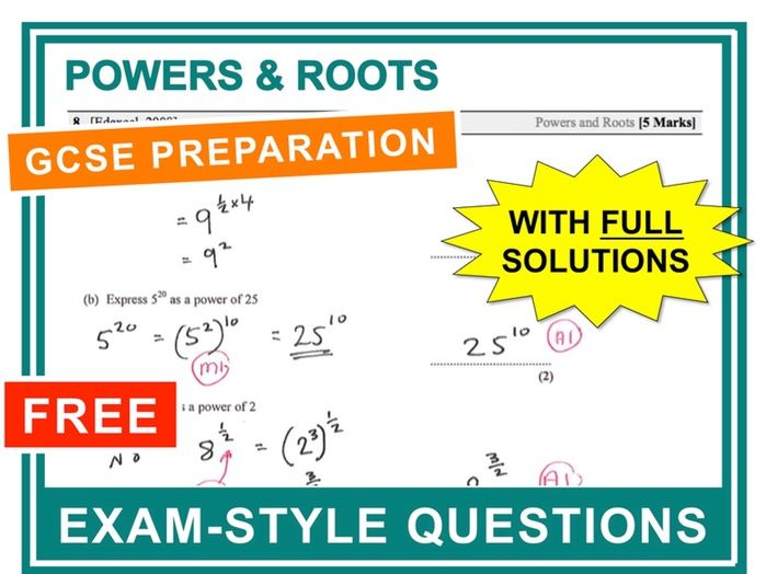 GCSE 9-1 Exam Question Practice (Powers + Roots)