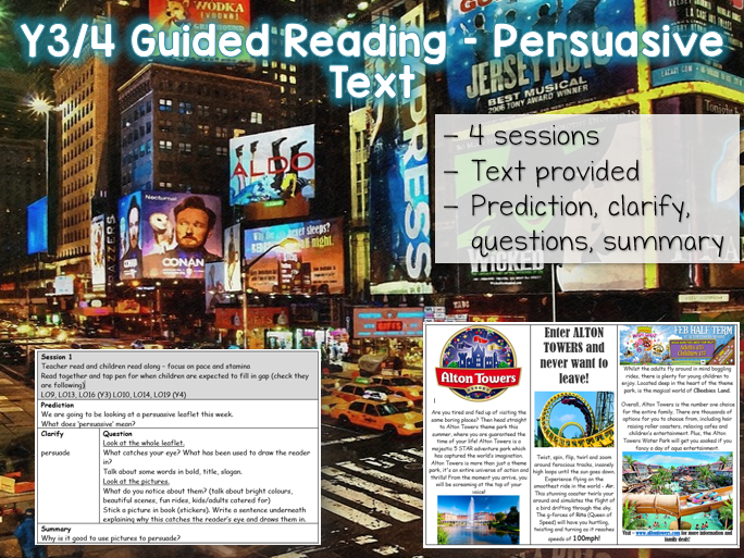 Y3/4 Guided Reading Persuasive Text - 4 sessions