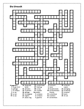 Umwelt (Environment in German) Crossword