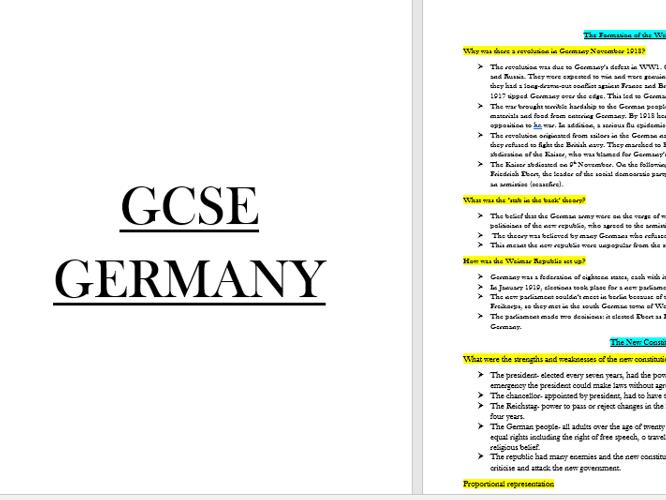 Edexcel GCSE Germany Full Topic Content