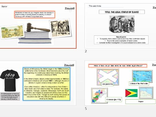 The Legal Status of Slaves (slave codes) - Key Stage 3 History - The Slave Trade