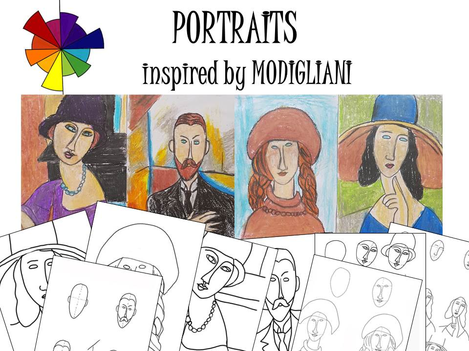 Portraits inspired by Modigliani, art activities