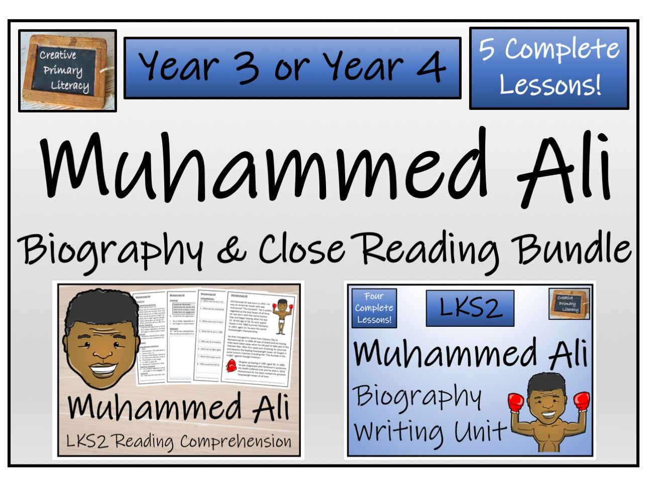 LKS2 - Muhammed Ali Reading Comprehension & Biography Bundle