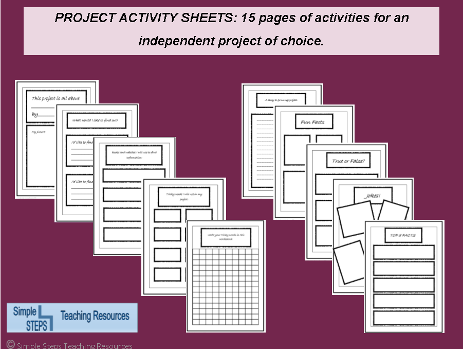 Guided project activity sheets - Ideal for home and cross curricular independent learning