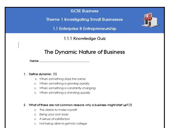 Edexcel GCSE Business 9-1 Theme 1 Topic 1 quizzes