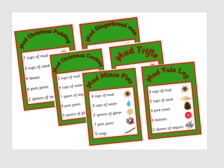 Big set of Christmas Mud Kitchen Recipe cards EYFS counting and maths outdoor activity