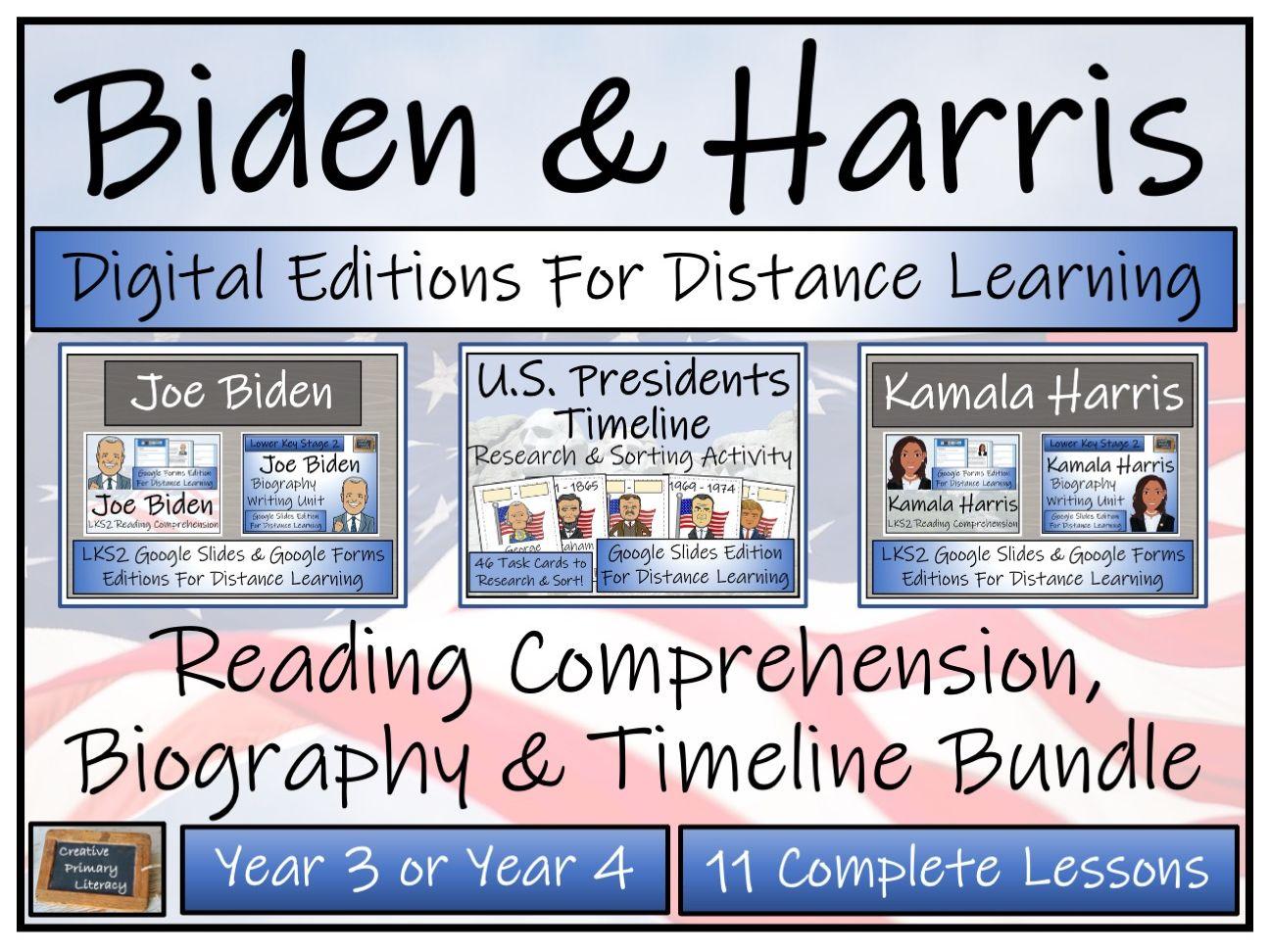 LKS2 Biden & Harris Digital Reading Comprehension, Biography & Timeline Bundle