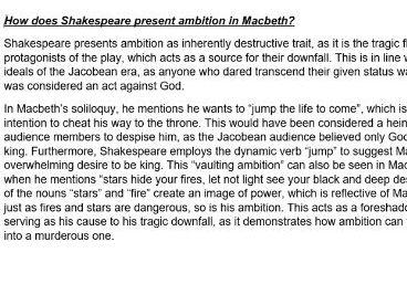 2 Essays for Potential GCSE 'Macbeth' Questions