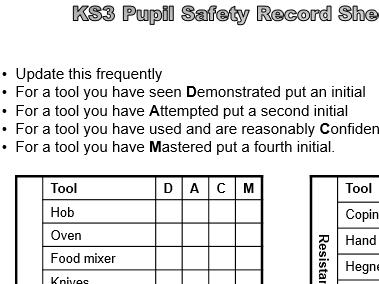 KS3 PUPIL SAFETY RECORD SHEET