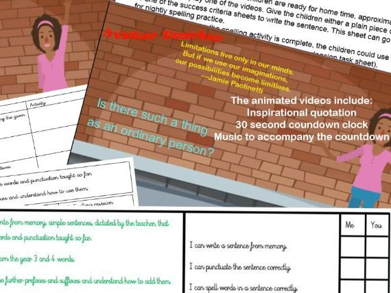 Year 3 and 4 spelling video pack (pack 4 of 5)