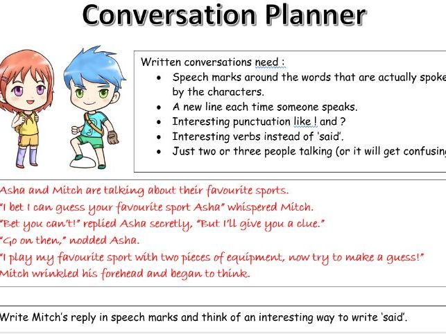 KS1 & 2 conversation planning template. A resource for pupils to use to plan a simple conversation.