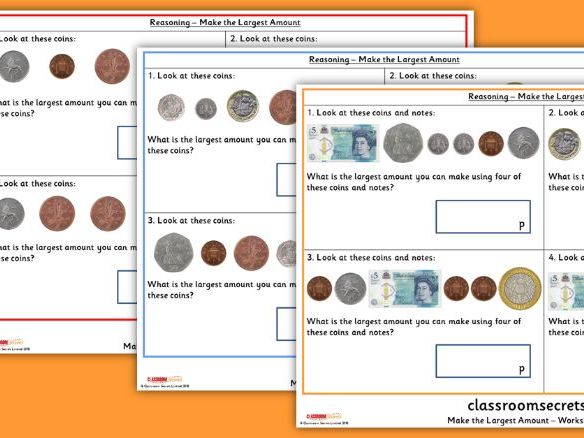 KS1 Make the Largest Amount Reasoning SATs Questions