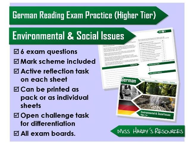GCSE German - Reading Question Pack - Environmental & Social Issues - AQA/OCR/Edexcel/iGCSE/WJEC