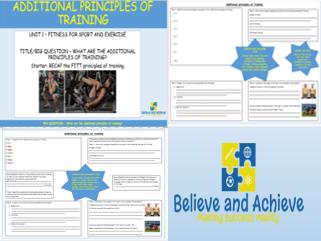 Additional  Principles of Training- BTEC Sport level 2 Unit 1 (2018)