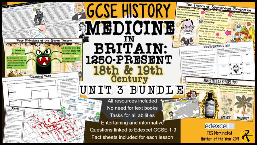 GCSE History Edexcel: Medicine in Britain UNIT 3 Bundle 18th & 19th Century