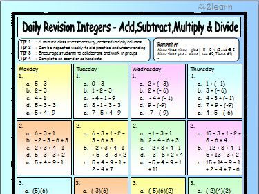 Maths Daily Revision Worksheets - INTEGERS - Adding   Subtracting   Multiplying  Diving